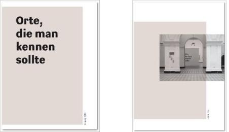 Orte, die man kennen sollte, Teil 1: Dokumentation (links) und Teil 2: Ausstellung und Texte (rechts)