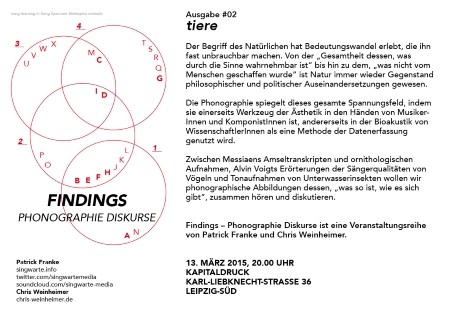 Flyer: Findings #2 - Tiere