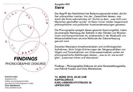 Flyer: Findings #2 - Tiere